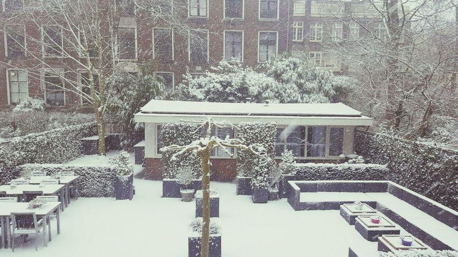 Snow at prinsengracht hotel gardens view Snow