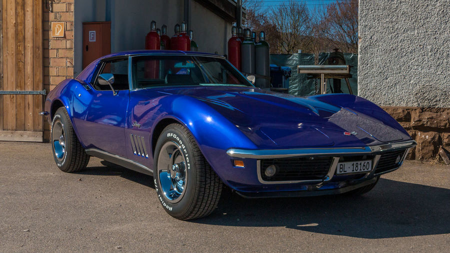 Chevrolet Corvette Stingray Mode Of Transportation Motor Vehicle Car Transportation Land Vehicle Architecture Built Structure Building Exterior Blue City Retro Styled Vintage Car Stationary Street Day No People Road Building Outdoors Chevrolet Corvette CorvetteStingray