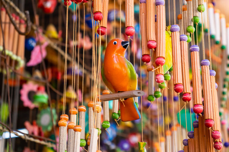Close-up of multi colored decorations hanging for sale in market
