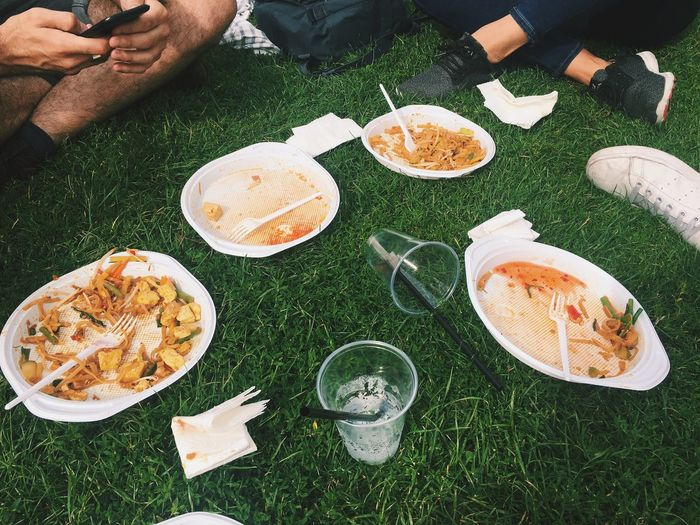 Low Section Of People Having Food On Grassy Field