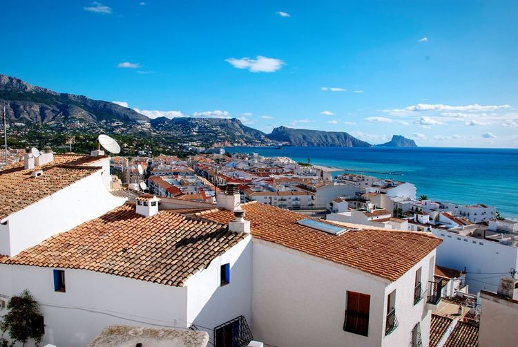 Altea, Spain Costa Blanca Coast Sea Ocean View Ocean Altea Spanish SPAIN Village Building Exterior Architecture Sea Water Built Structure Building Residential District High Angle View Sky Nature Roof Land Day No People House Beach Outdoors