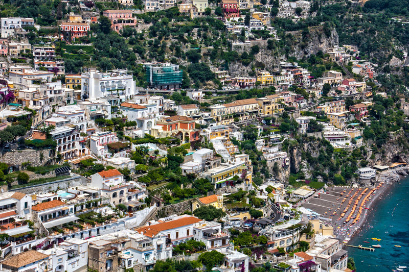 Aerial View Almaficoast Architecture Building Exterior Built Structure City City Life Cityscape Community Crowded Elevated View High Angle View House Human Settlement Positano Residential Building Residential District Residential Structure Roof Town TOWNSCAPE Tree