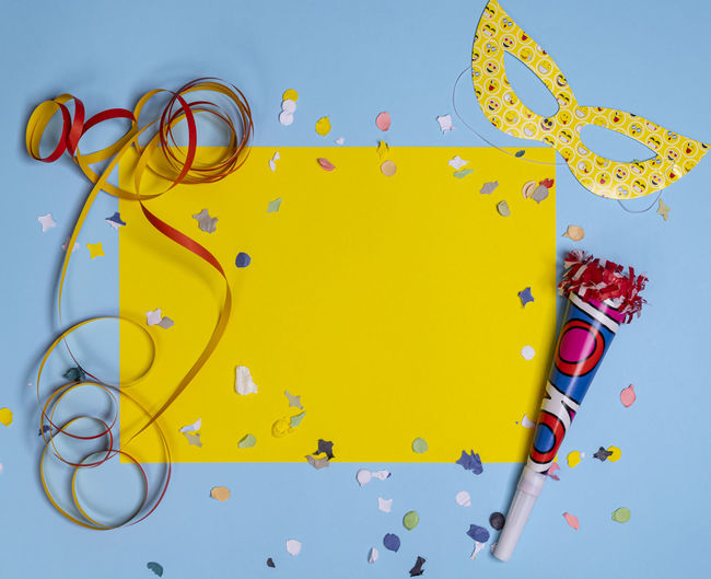 High angle view of yellow decoration on table