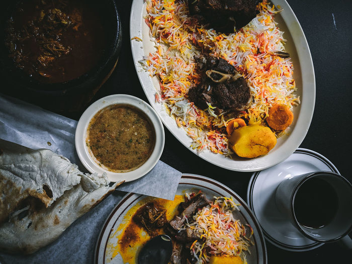 Food Food And Drink Middle Eastern Food Lamb - Meat Rice Grain Flatlay Table Plate Yemeni Moody Messy Food Feast High Angle View Directly Above Comfort Food: Meats