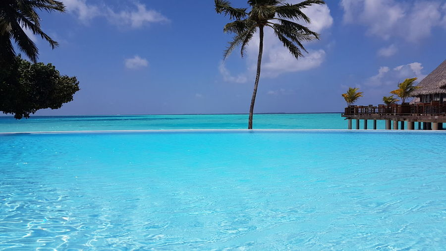 Panoramic view from infinity pool and see at resort in maldives