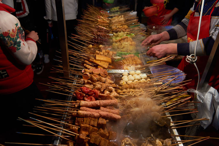 Tofu kebabs and other Cheapest Chinese Food Chinese Food Chinese Kebabs D810 EyeEmNewHere Food Street Full Frame Good Food Night Market Restauration Market Snaks Street Tofu