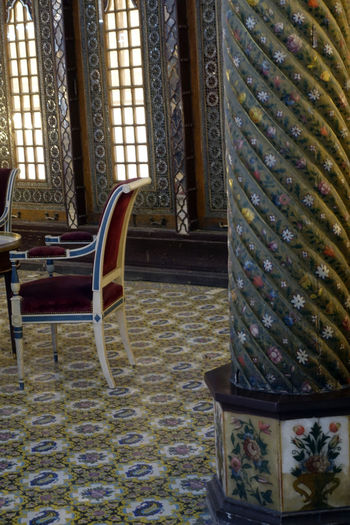 Built Structure Chair Day Golestan Palace Indoors  No People Pattern Tradition Art Is Everywhere