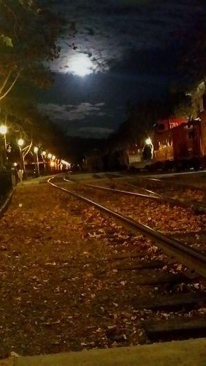 Night Illuminated Railroad Track Rail Transportation Transportation Sky Outdoors