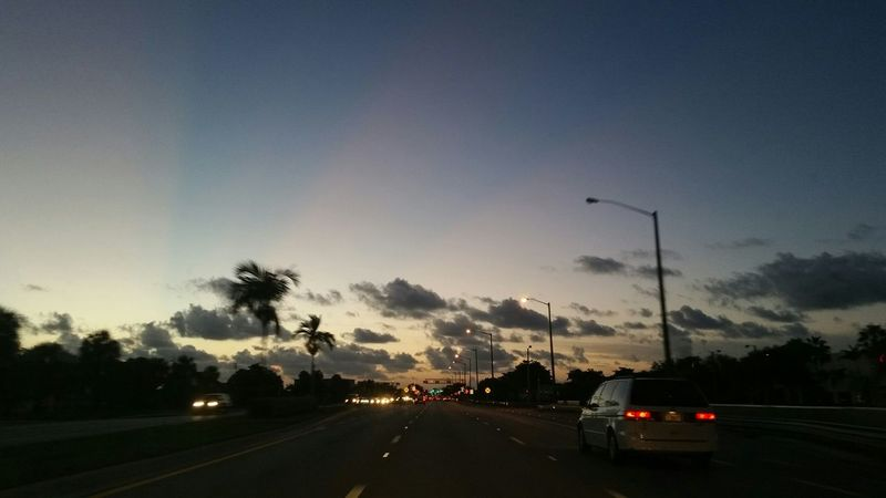 """...It's not easy when the road is your driver."" Traffic Traffic Lights Driving Around Florida Day Break Clouds"