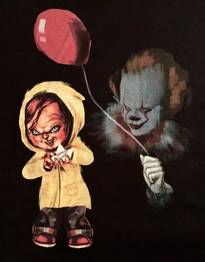 https://youtu.be/TsGRCZ-Rmpc Chucky vs Pennywise ! Trick Or Treat Childsplay Stephen King's IT Nightmares And Dreamscapes Fashion Statement Chasing The Darkness Movie Picture Clownlove Livingdoll Musical Photos Teechip Teeshirt You'll Float, Too