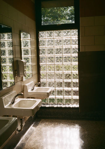 35mm Film Analogue Photography Architecture Bathroom Bathroom Sink Day Domestic Room Glass Blocks Home Interior Indoors  Light And Shadow Mid Century Architecture Mid Century Modern No People Sunlight Window