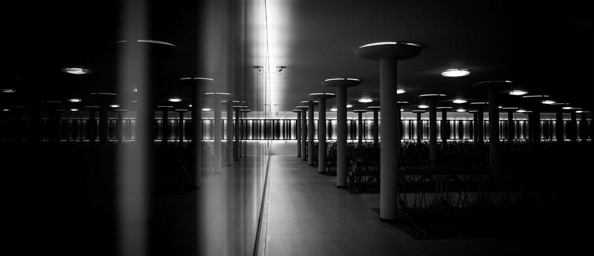 Illuminated parking lot at groningen europapark railway station
