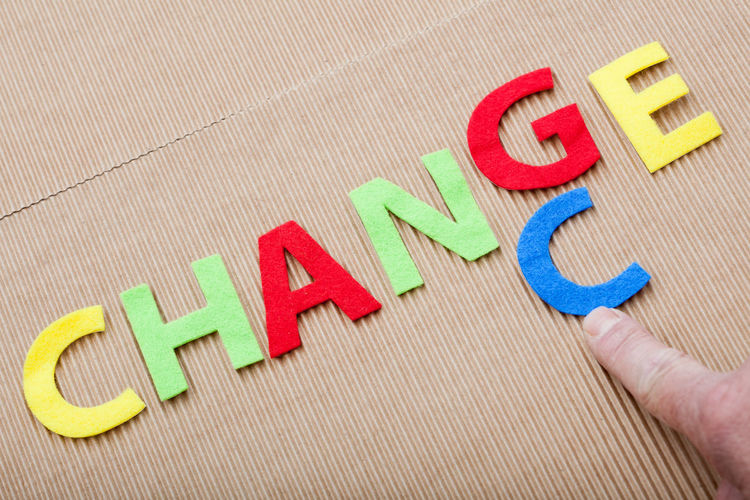 Cropped finger of person pointing at letter c by change text on cardboard