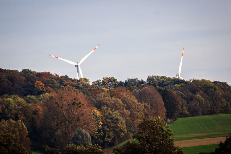 Windmills by forest against sky during autumn