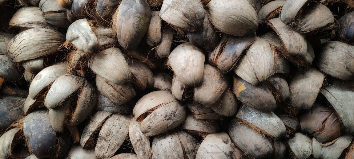 Full frame shot of coconut coir  for sale at market