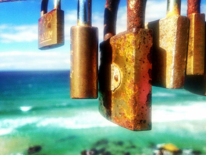 Locks Padlock Love Gold Coast Australia Australia Beach Mermaid Beach Rusty Fence Outdoors Blue Green Brown Iphone 5