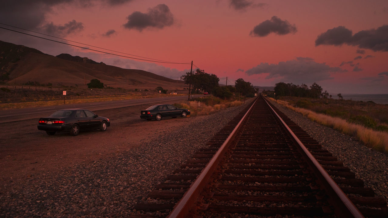 transportation, sunset, railroad track, sky, the way forward, outdoors, rail transportation, no people, landscape, nature, scenics, beauty in nature, day