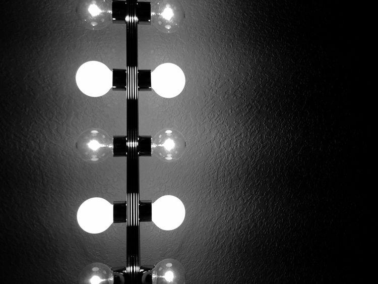 electric Lighting Equipment Black & White Light Bulb Illuminated Low Angle View Indoors  No People Spotlight Night Close-up