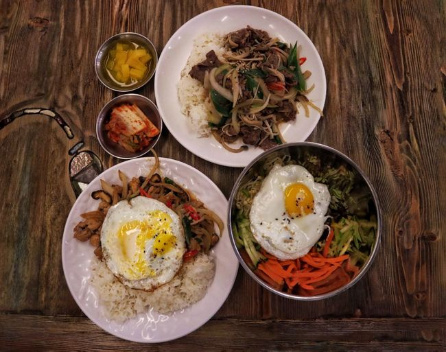 Korean Korean Food Bibimbap😋 Kimchi!!!!! Meat Chicken Beef Yummy EyeEm Food Photography EyeEm Food Lovers EyeEm Selects Egg Food Egg Yolk Table Plate High Angle View Healthy Eating Fried Egg Meal Sunny Side Up
