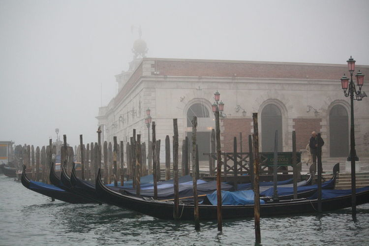 Moored gondolas on a canal