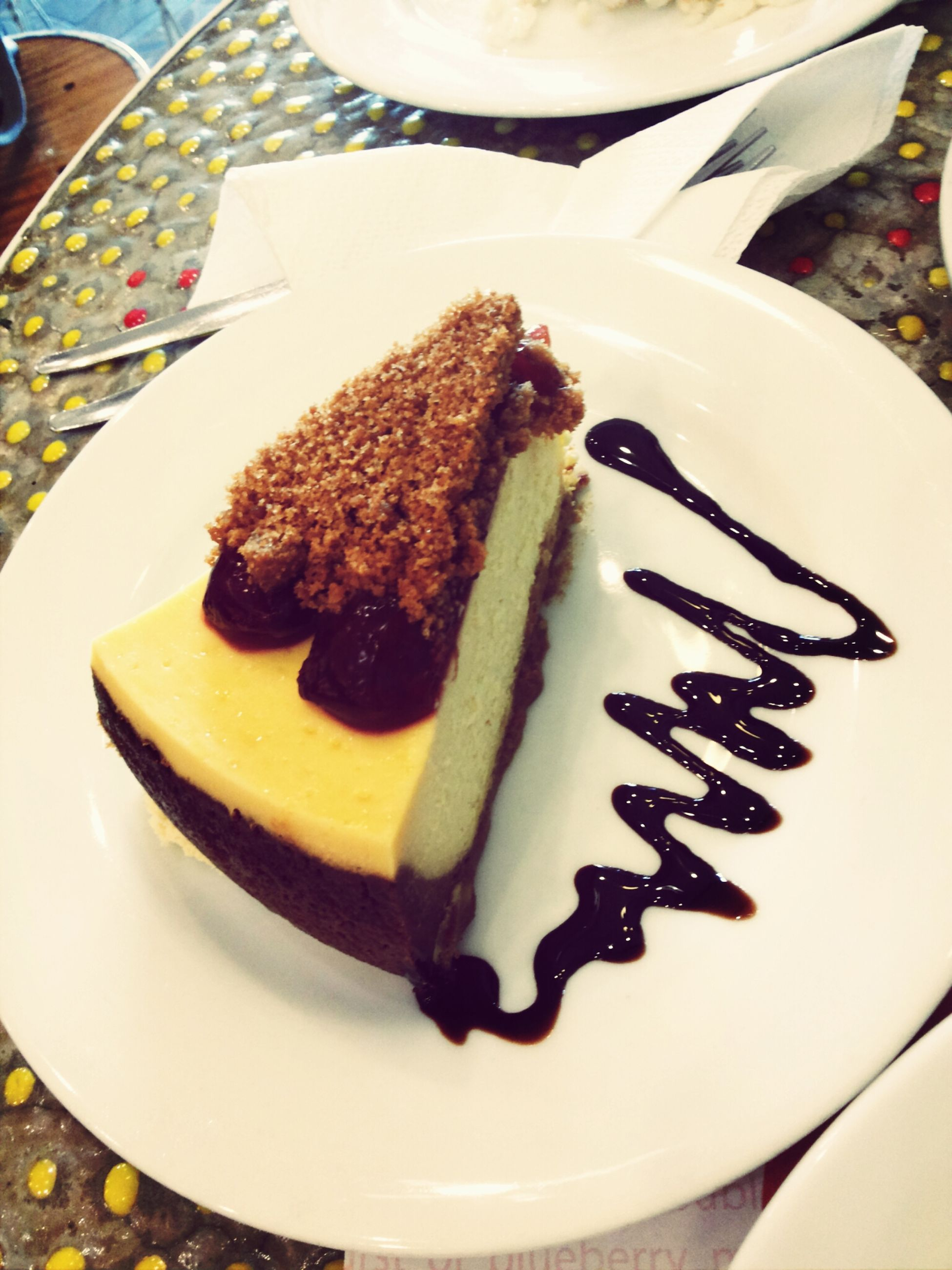 food and drink, food, freshness, ready-to-eat, plate, indoors, indulgence, sweet food, still life, dessert, unhealthy eating, serving size, close-up, temptation, cake, high angle view, fork, meal, table, chocolate