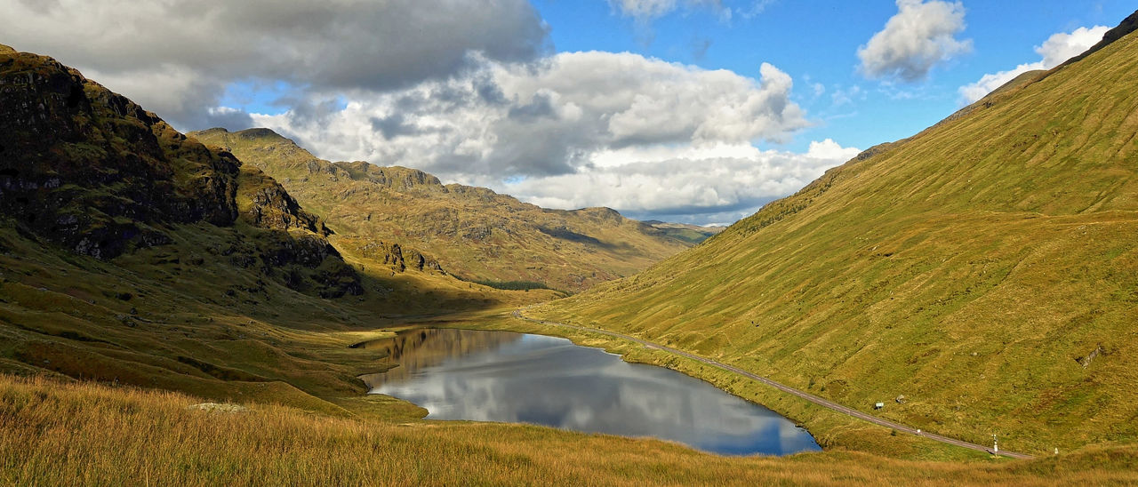 Glen Croe Beauty In Nature Cloud - Sky Day Grass Lake Landscape Mountain Mountain Range Nature No People Non-urban Scene Outdoors Restil Scenics Sky Tranquil Scene Tranquility Water