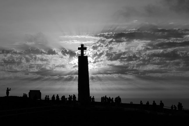 Repost Sunset 2015 . Black & White Black And White Blackandwhite Blackandwhite Photography Bnw Eye4photography  EyeEm Best Shots EyeEm Bnw EyeEm Nature Lover EyeEmBestPics Golden Hour EyeEm Monochrome Sky And Clouds Sunset Silhouettes Sunset_collection Sunsetporn Cross EyeEm Gallery Taking Photos at Cabo Da Roca Portugal