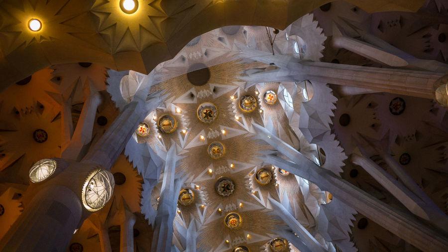 Inside the La Sagrada Familia Architecture Barcelona Catalan Catalunya Cathedral Church Illuminated Indoors  La Sagrada Familia Light And Shadow Monument Night No People Pillars Religious  The Architect - 2017 EyeEm Awards