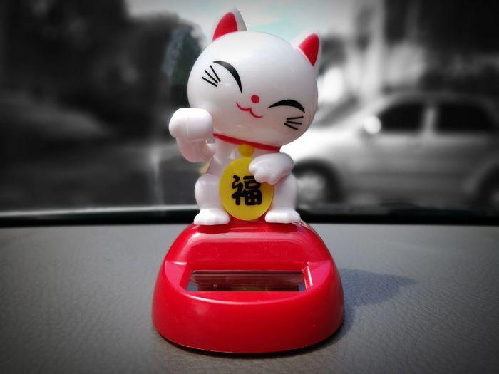 Maneki Neko Front View Welcoming Cat Lucky Caller Cat Beckoning Cat Japanese Figurines Lucky Cat Fortune Cat Lucky Charm Talisman Money Cat