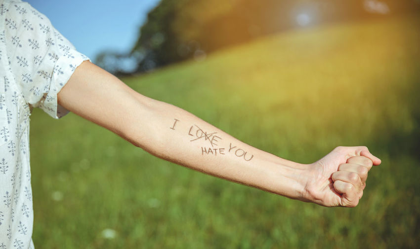 Closeup of male arm with the text -I hate you- and word -love- crossed out in the skin over a sunny nature background Horizontal Love Nature Sunlight Sunny Text Writing Arm Emotion Handwriting  Hate Human Body Part Ink Inscription Letter Message Outdoors Real People Sentence Skin Summer Sun Tattoo Unrecognizable Person Words