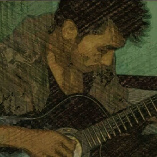 With my guitar Self Portrait