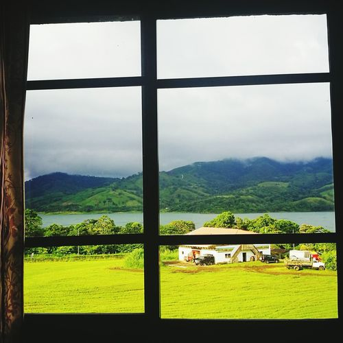 Sky Cloud - Sky Grass Mountain Window Architecture Day Landscape Built Structure Nature Scenics Outdoors Tree Rural Scene No People Costa Rica