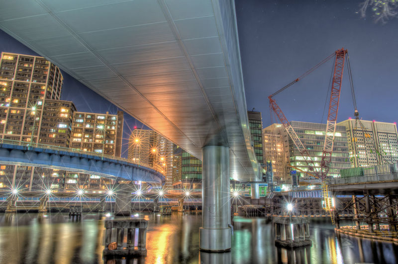 Architecture Built Structure Building Exterior Water Reflection City Illuminated Night Transportation Industry Sky Crane - Construction Machinery Machinery No People Travel Destinations Modern Blurred Motion Nature Outdoors Office Building Exterior Skyscraper Canal Tokyo Night HDR Japan Photography