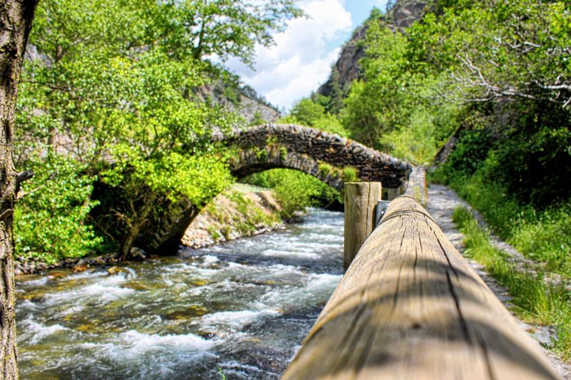 Arch Footbridge Over River Against Tree Mountains