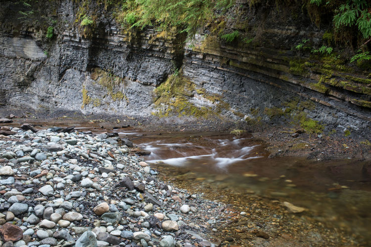 Scenic view of water flowing through rocks