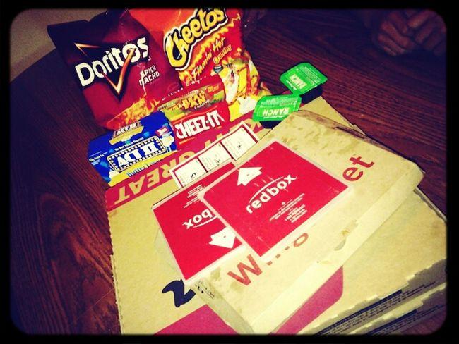 Pizza , hot wings , hot chettos , doritos , popcorn (: Movie Night >>>>>>>>>> My frday night with bestfriend &' boyfriends <3