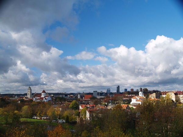 Vilnius panorama from Subačius hill. Architecture Building Exterior Built Structure City Cityscape Cloud - Sky Day High Angle View House Nature No People Outdoors Panorama Residential Building Sky Town Tree