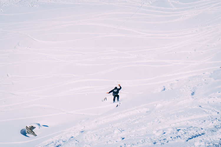 Amazing winter snow Sport Adventure Mountain Real People Leisure Activity Winter Skiing Snow Lifestyles Winter Sport One Person Cold Temperature Beauty In Nature High Angle View Day Scenics - Nature Non-urban Scene White Color Vacations Mountain Range Snowcapped Mountain Skiing Ski Hiking
