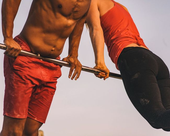 Calisthenics Venice Beach Strength Midsection Lifestyles Men Sport People Healthy Lifestyle Exercising Muscular Build Visual Creativity