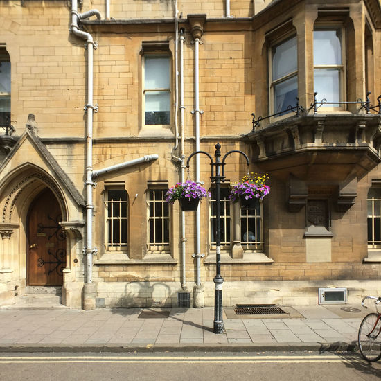Charming street in Oxford on the university campus. Oxford Oxford University Sidewalk Architecture Building Exterior Built Structure City Day Flowers No People Outdoors Street Window