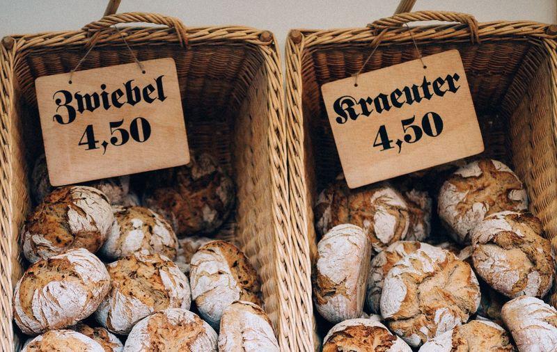 Information sign in basket for sale at market stall
