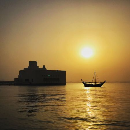 Sunset Water Sea Nautical Vessel Silhouette Waterfront Orange Color Transportation Sun Beauty In Nature Nature Sky Scenics Mode Of Transport Reflection Outdoors Horizon Over Water Tranquil Scene Tranquility Architecture