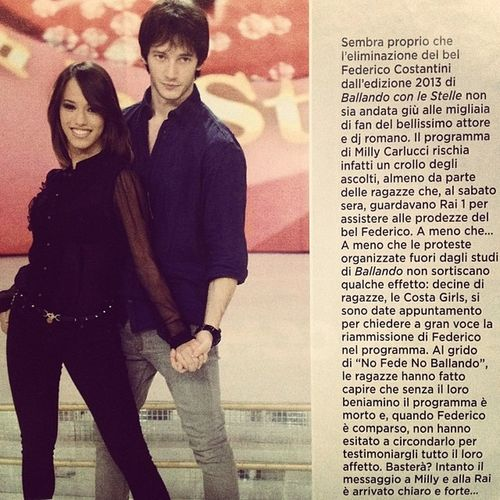 """Magazine Rivista Scoop ♥ Stelle Il nostro bel Federico sul settimanale VIP di novembre. Le Costa Girls chiedono il suo rientro a """"Ballando con le stelle"""""""