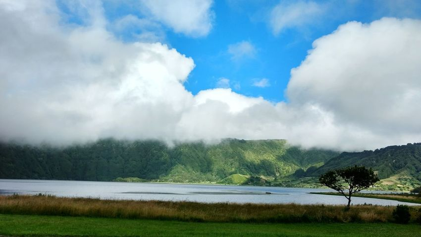 Landscape Outdoors No People Mountain Water Lake Sky Nature Azores, S. Miguel Sete Cidades Cloud - Sky Accidents And Disasters Grass Fog Tree Mountain Range Forest Fire Day Hot Spring