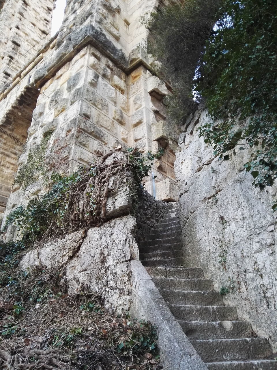 stone material, steps, history, architecture, rock - object, ancient, steps and staircases, built structure, low angle view, old ruin, day, no people, outdoors, nature, ancient civilization