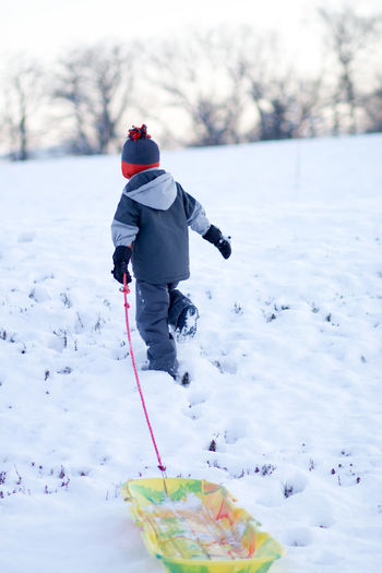 Rear view of boy with sled walking on snowy land