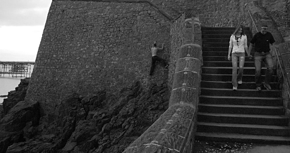 Short Cut  Wall Climber Seaside Stone Steps Streetphotography Madness Black And White Photography EyeEm Best Shots