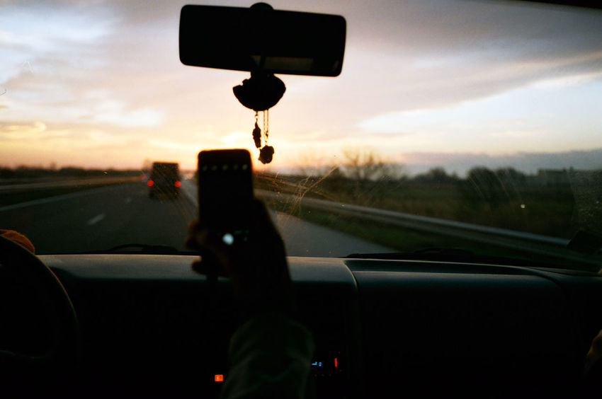 Olympus Mju Ll Car Car Interior Close-up Cloud - Sky Land Vehicle Mode Of Transport Nature No People Outdoors Road Roadtrip Sky Sunrise Transportation Windshield