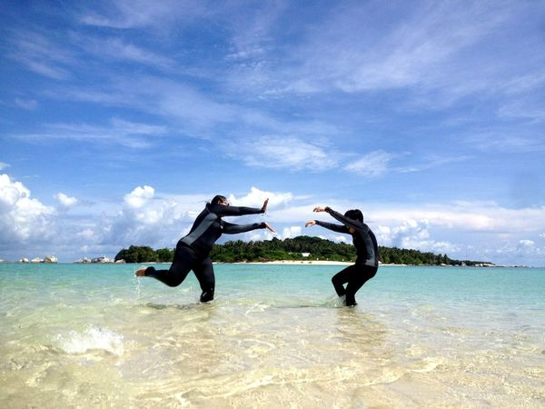 Live For The Story Having Fun on Sand Island Two People Water Sea Cloud - Sky Men Adults Only Only Men Sky Scuba Diving Adult People Togetherness Day Beach Full Length Adventure Nature Outdoors Young Adult UnderSea