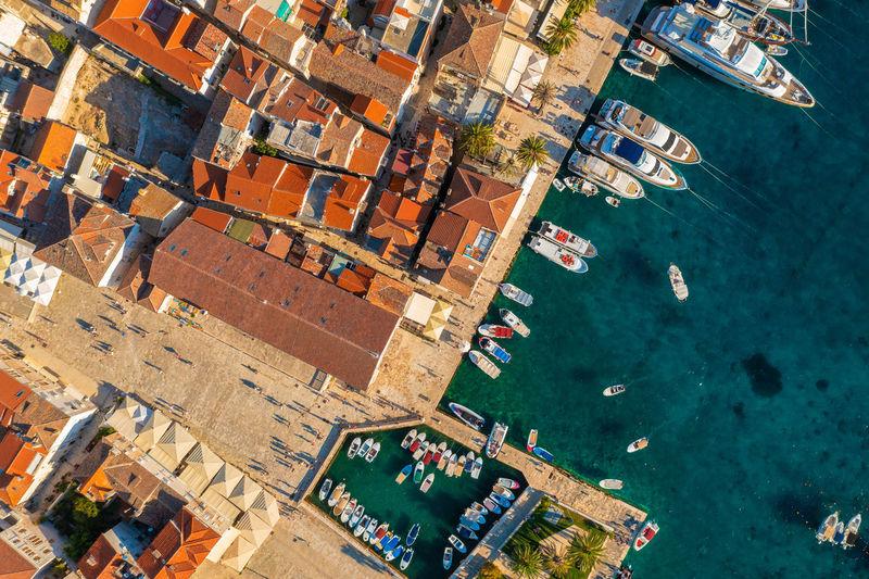 Aerial view of hvar town on hvar island, croatia